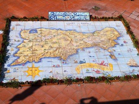 Ceramic Island Map of the Magical Island of Capri Italy