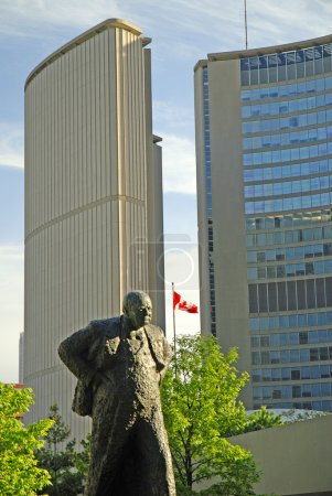 Statue of Wartime leader Sir Winston Churchill in the city centre in Toronto Canada