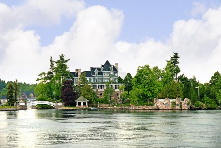 The 1000 Islands on the St Lawrence River which borders Canada and the USA.