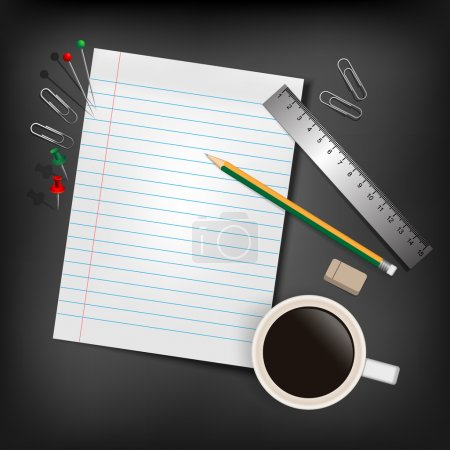 A blank stack of paper, a pencil and a coffee cup over a desk