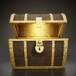 Glowing treasure chest full of treasures...