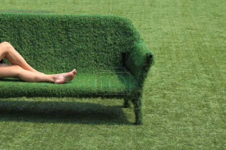 Photo for Eco style of interior decoration the grass sofa with green grass floor - Royalty Free Image