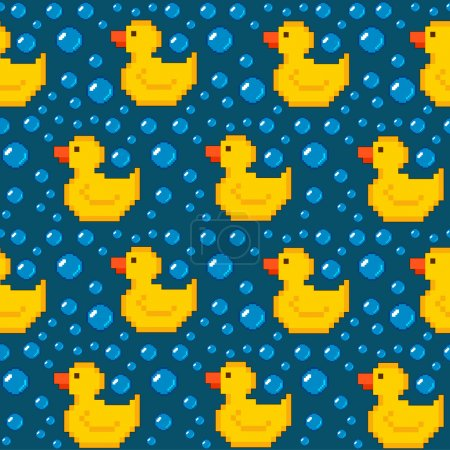 Illustration for Pixel rubber duck seamless pattern - Royalty Free Image