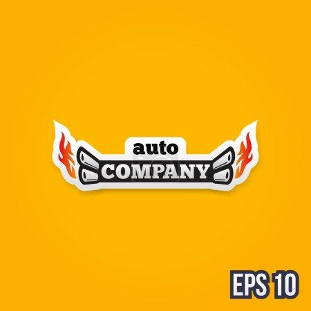 Retro color automotive vector label concept