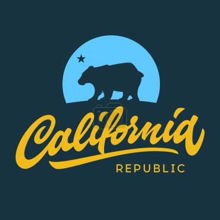 Vintage retro california republic calligraphic t-shirt apparel fashion design