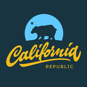 Vintage california republic calligraphic handwritten t-shirt apparel fashion design and bear