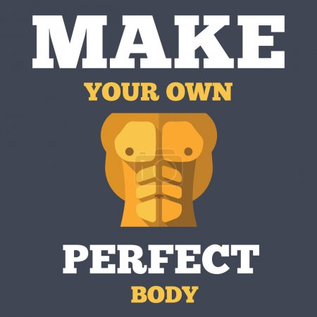 Motivational creative unusual fitness poster with flat icon of torso