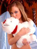 Professional Model Jenny Marie shoots a hot sexy set - kissing teddy bare bear