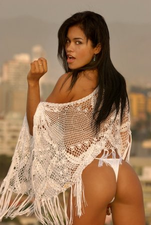 White Mesh See Through Sexy Cover on Sultry Sexy Latino Professional Model in Skimpy Bikini Bottoms shot in Lima Peru