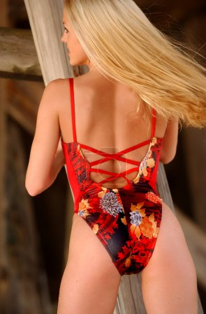 Red Multicolored Flowered One Piece - Prefect Blond - Wood Background - Back Side
