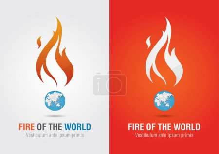 Illustration for Fire of the world sign icon symbol info graphic. Creative marketing. Environmental social enterprise. - Royalty Free Image