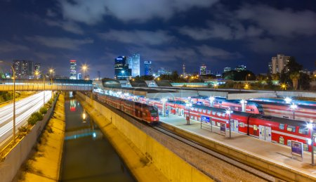 Urban night view of Tel Aviv