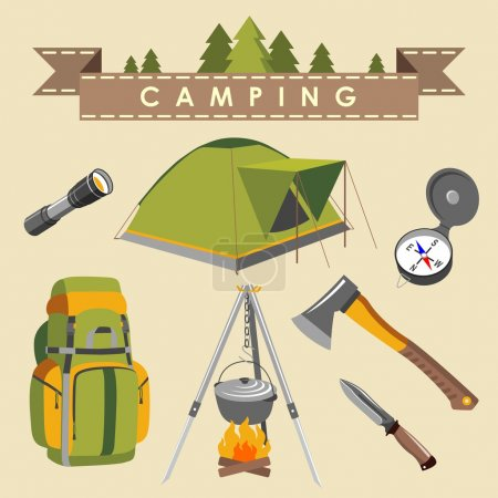 Illustration for Set of camping equipment and objects - Royalty Free Image