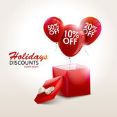 Balloons With Sale Discounts and with box Holidays background Vector illustration