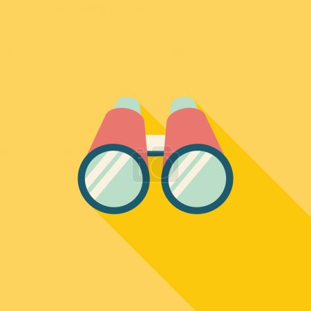 Illustration for Binoculars flat icon with long shadow - Royalty Free Image