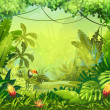 Llustration with flowers and jungle toucan...