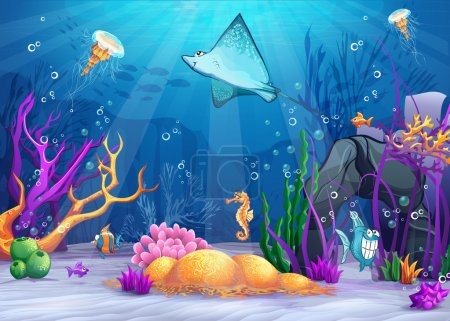 Underwater world with a funny fish and fish ramp