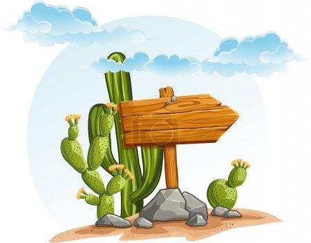 Illustration pour Pointeur en bois avec cactus dans le désert - image libre de droit