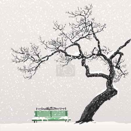 Illustration for Illustration of a winter landscape with a tree and a bench - Royalty Free Image