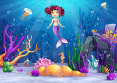 Illustration of the underwater world with a mermaid with pink hair