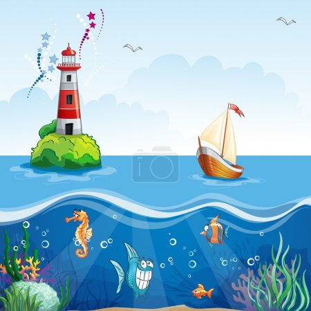 Lighthouse and sailboat. On the sea floor, and funny fish