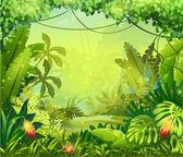 """Постер, картина, фотообои """"джунгли с красными цветами"""""""