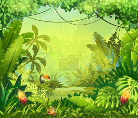 Illustration pour Llustration avec fleurs et jungle toucan - image libre de droit
