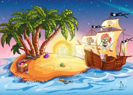 Illustration for Illustration of treasure island and pirate ship - Royalty Free Image