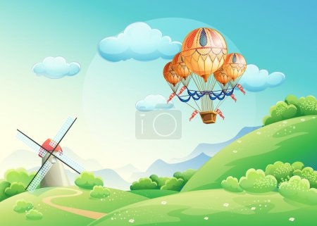 Illustration for Illustration of summer fields with a balloon in the sky - Royalty Free Image