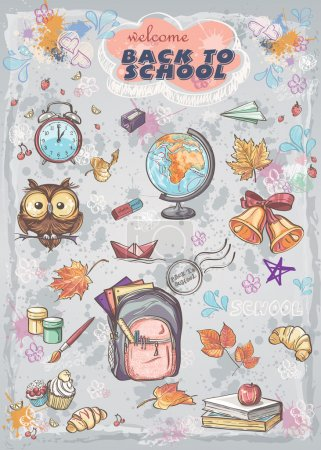 Illustration for Set of different school subjects  backpack, paints, Globe and autumn leaves - Royalty Free Image