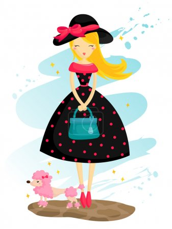 Illustration for Paris Girl and poodle - Royalty Free Image
