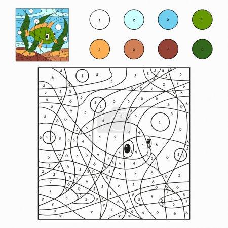 Illustration pour Couleur par numéro (poisson ) - image libre de droit