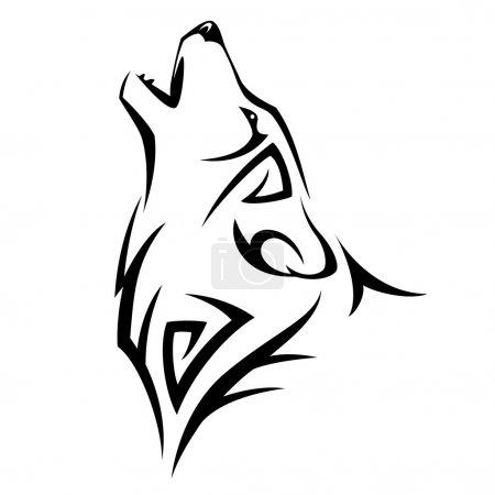 Illustration pour Tatouage de loup hurlé. Illustration vectorielle de conception tribale - image libre de droit