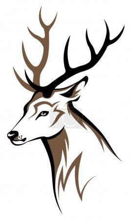 Illustration pour Illustration de l'emblème tribal de tête de cerf vecteur stylisé pour votre conception - image libre de droit