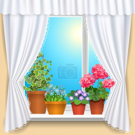 Illustration for Window with white curtains and flowers template background for design, vector illustration - Royalty Free Image