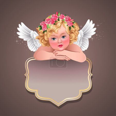 Vintage label with cherub.
