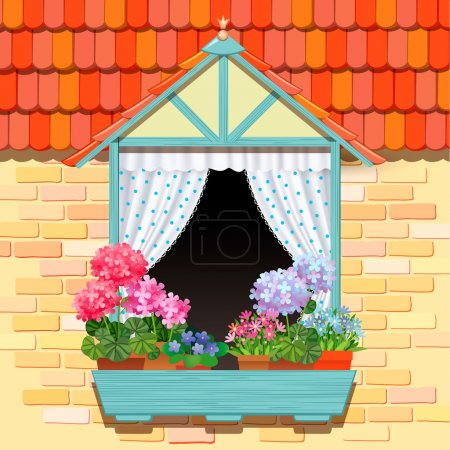 Illustration for Open window and flowers template background for design - Royalty Free Image