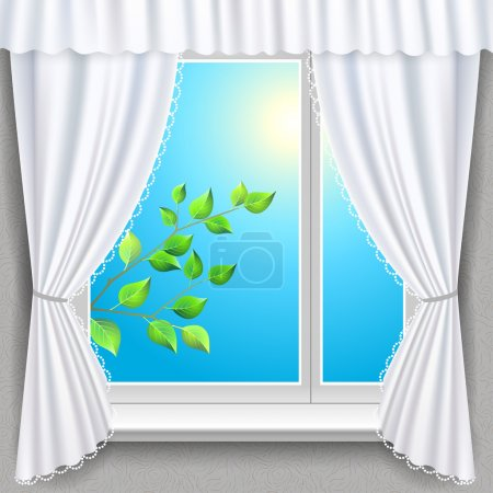 Illustration for Spring branch view from a window. Vector illustration - Royalty Free Image