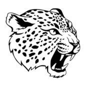 Stylized jaguar's head illustration black isolated on white