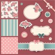 Scrapbook design vector elements with roses...