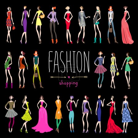 Illustration for Fashion young women shopping background - Royalty Free Image