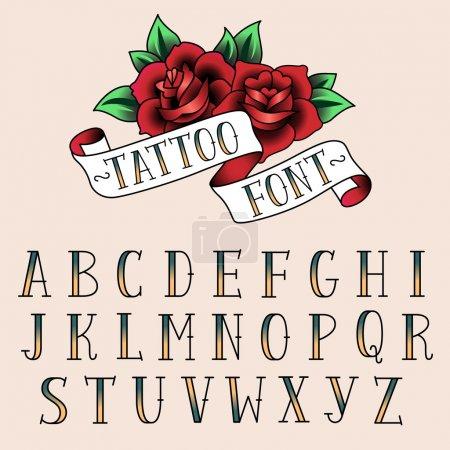 Illustration pour Ensemble de lettres de style tatouage, alfabeth pour votre conception . - image libre de droit