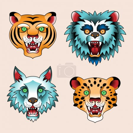 Tattoo heads of predatory animals