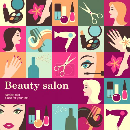 Illustration for Beauty salon design template card. Vector backgroun - Royalty Free Image