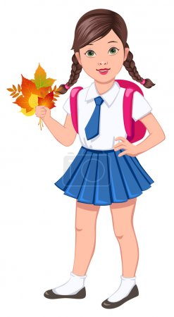 Illustration for Schoolgirl in blue uniform holding the bouquet of fallen leaves - Royalty Free Image