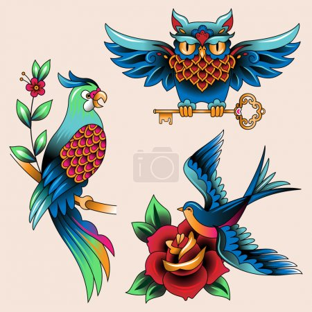 Illustration for Set of Traditional birds tattoo owl, parrot and swallon - Royalty Free Image