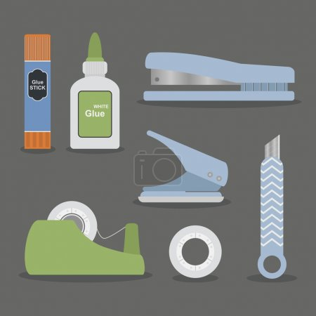 Colorful flat office stationery set on gray background