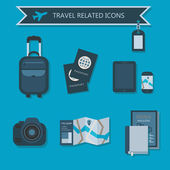 Some travel essentials and related icons on blue background