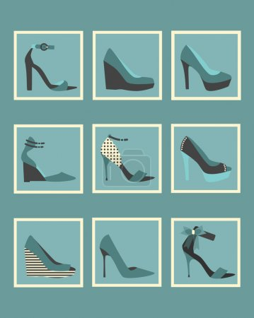 Unique blue women shoes square icons set
