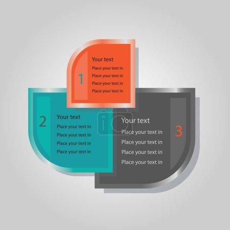 Illustration pour Les bannières triples abstraites définie avec l'une autour de formes carrées de coin - différentes tailles en gris, Sarcelle et orange, y compris l'espace de la copie - image libre de droit